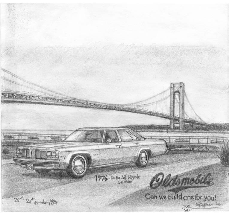 1976 Oldsmobile Delta 88 Royale Sedan (A4 print) with White mount (A4)