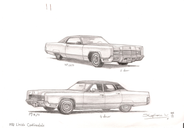 1970 Lincoln Continental - original drawings and prints by Stephen Wiltshire
