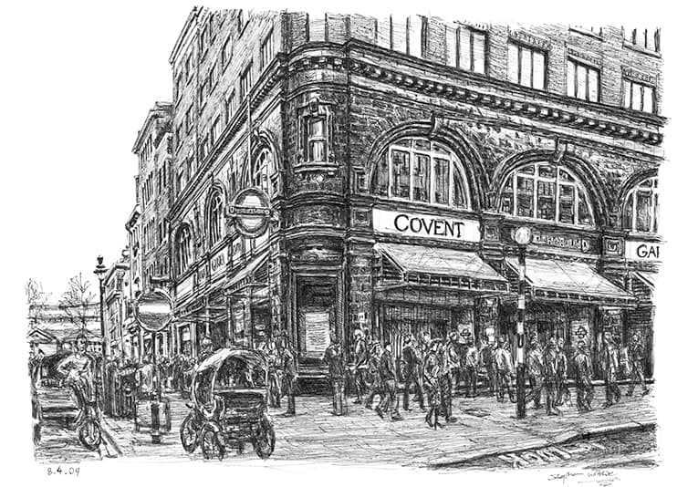 Covent Garden station, London with White mount (A3)