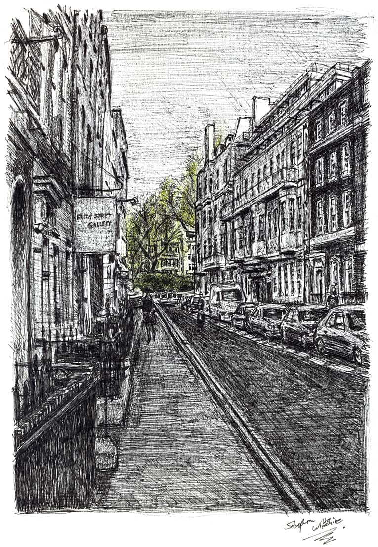 Frith Street, Soho - originals and prints by Stephen Wiltshire MBE