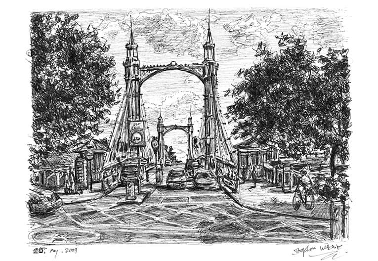 Albert Bridge, London (A4 print) with White mount (A4)