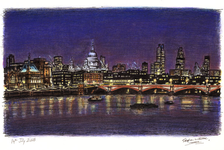 St Pauls and London Skyline at night - Original Drawings and Prints for Sale