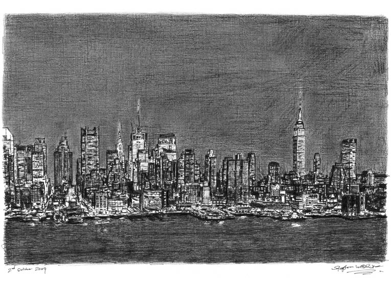 Manhattan Skyline at night with White mount (A3) in Flat hessian black frame for A3 mounts (P70)