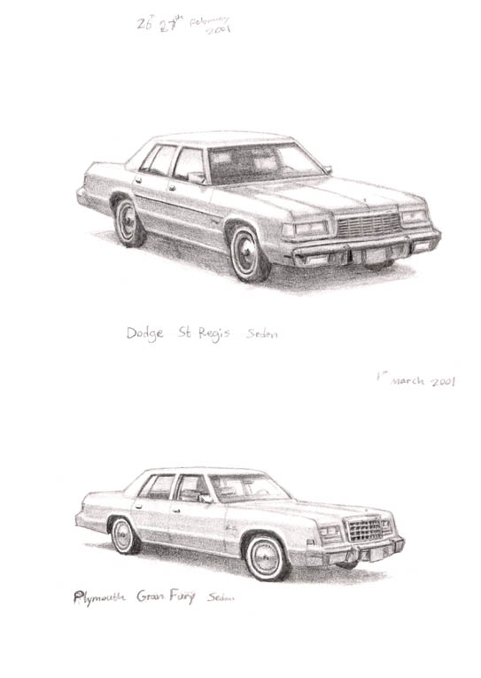 Dodge St Regis Sedan - Original Drawings and Prints for Sale