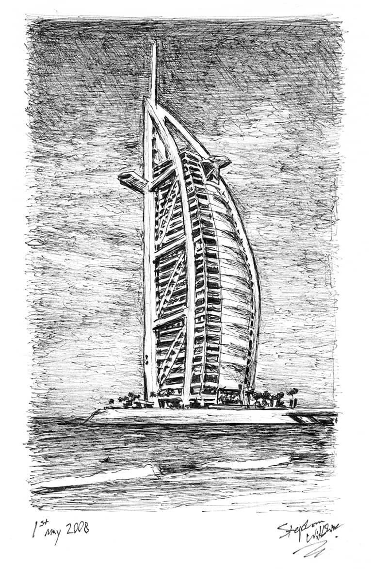 Burj Al Arab - Original drawings, prints and limited editions by Stephen Wiltshire MBE