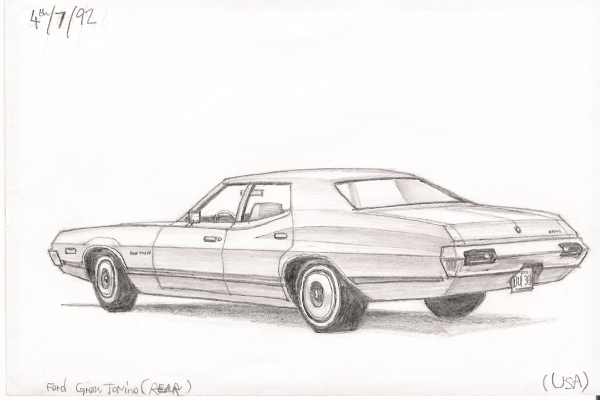 Ford Gran Torino - Original Drawings and Prints for Sale