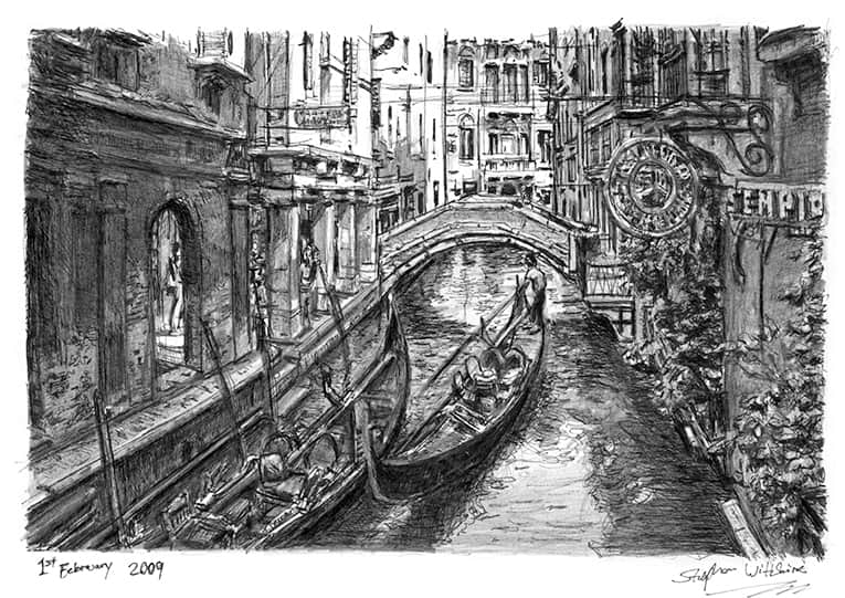 Two gondolas in Venice - originals and prints by Stephen Wiltshire MBE