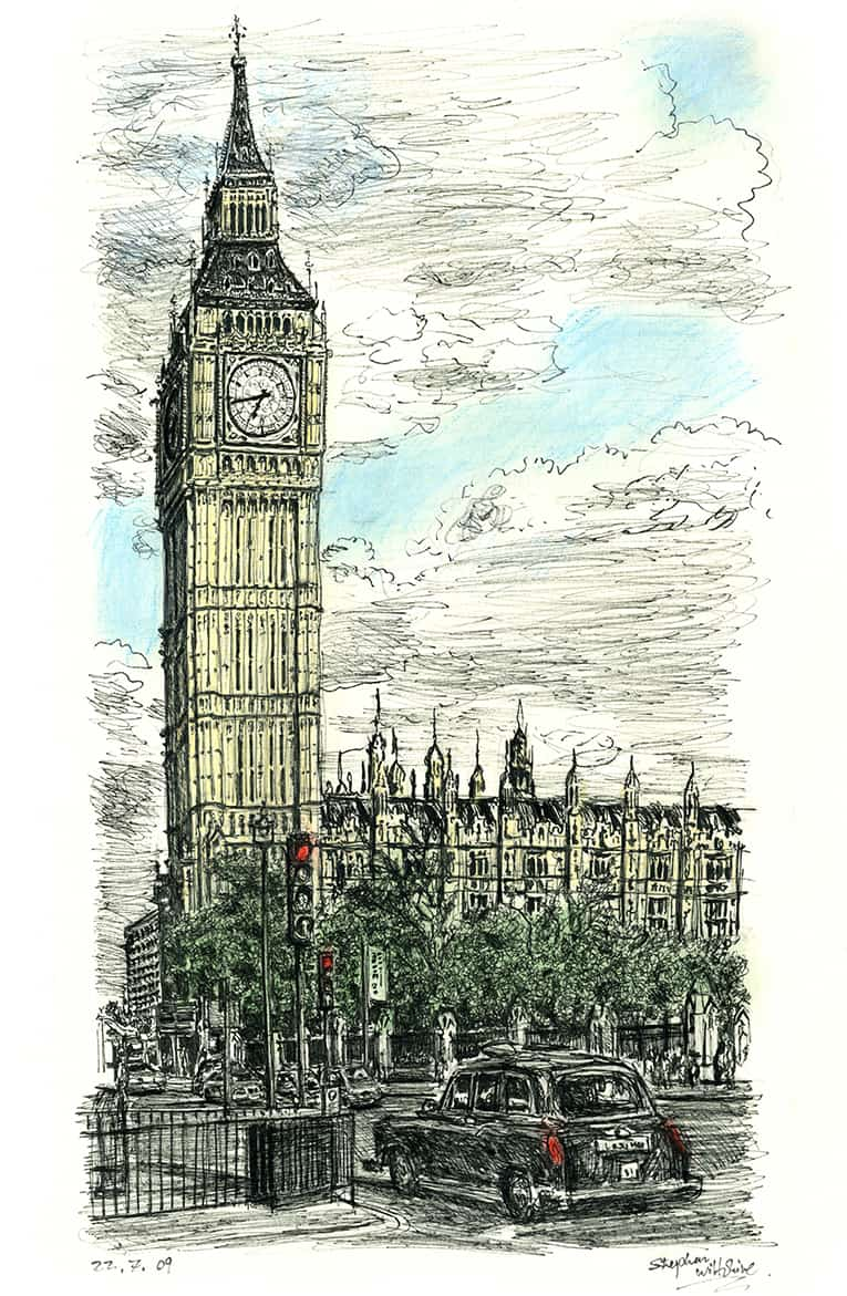 Big Ben In July 2009 Drawings Prints And Limited