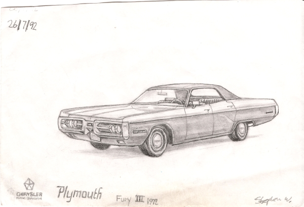 1972 Plymouth Fury III - original drawings and prints by Stephen Wiltshire