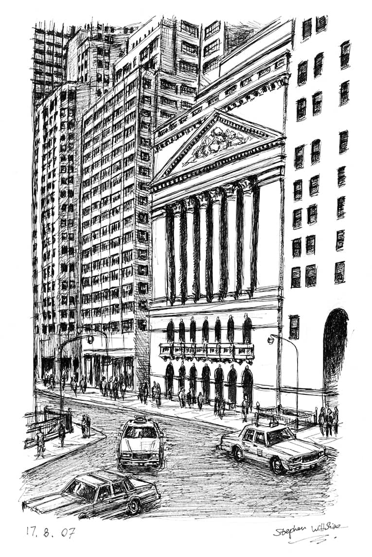 Wall Street - originals and prints by Stephen Wiltshire MBE