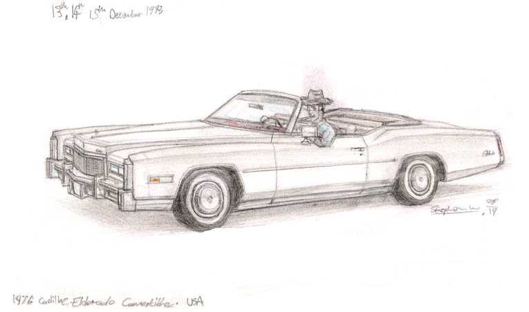 1976 Cadillac Eldorado Convertible - originals and prints by Stephen Wiltshire MBE