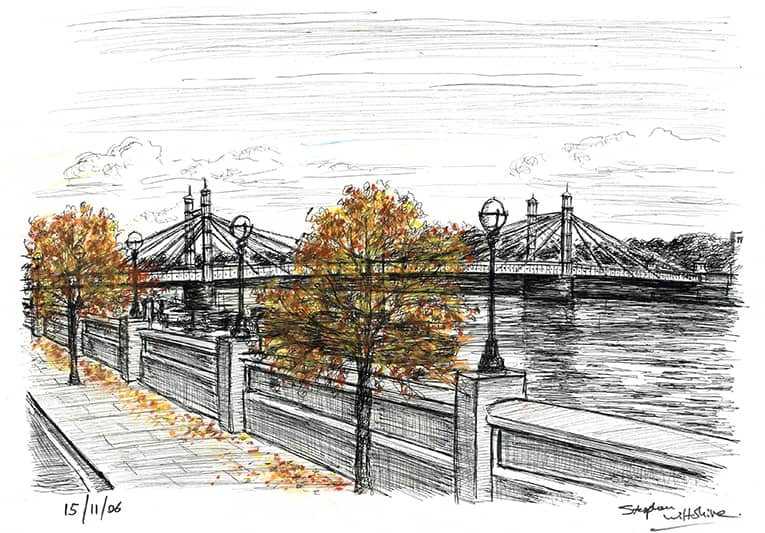 Albert Bridge - originals and prints by Stephen Wiltshire MBE