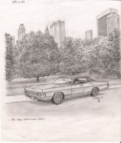 1971 Dodge Polara Custom Sedan - original drawings and prints for sale