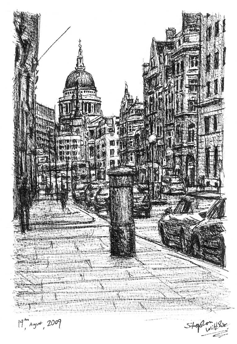 St Pauls from Fleet Street - originals and prints by Stephen Wiltshire MBE