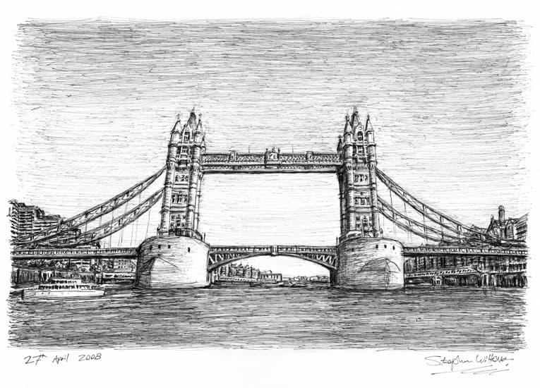 Tower Bridge in April 2008 - Original Drawings and Prints for Sale