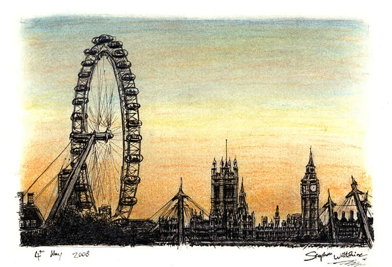 London Eye and Houses of Parliament (A4 print) with White mount (A4) in Flat grain black frame for A4 mounts (J90)
