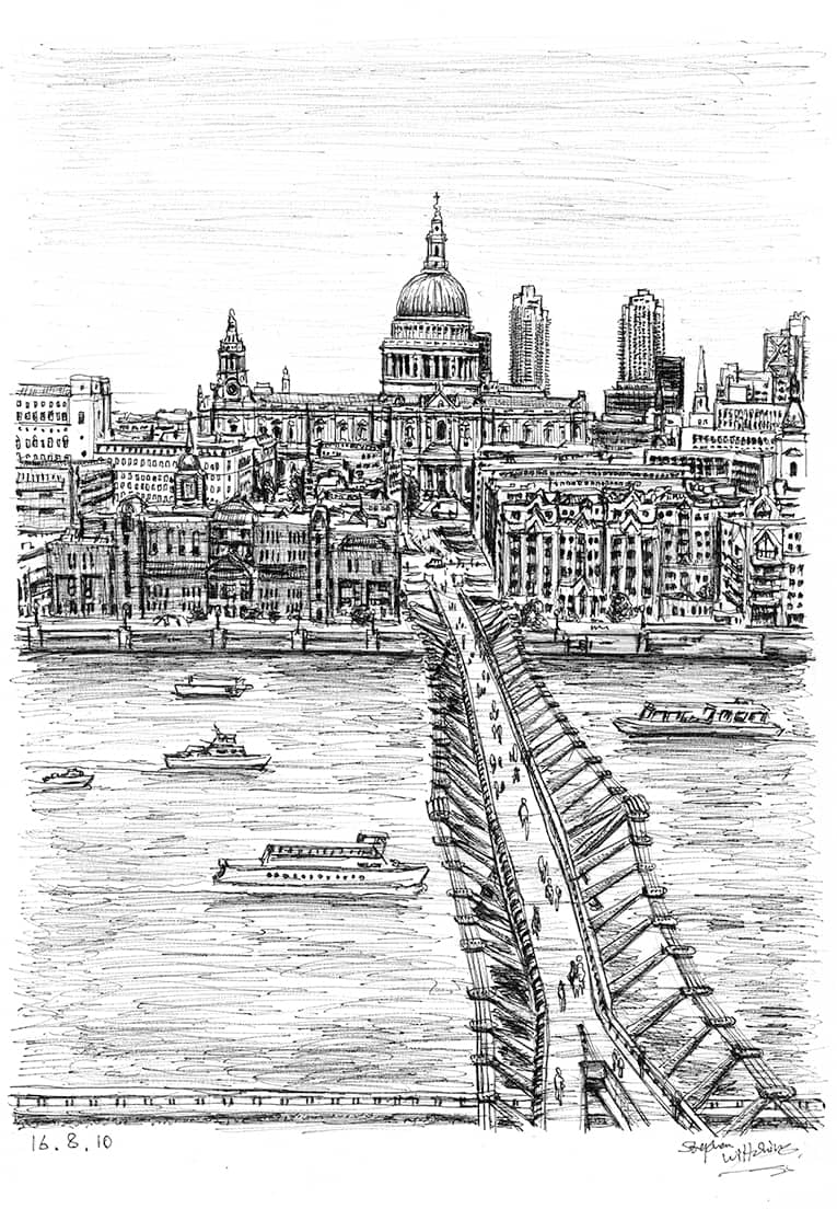 Millennium Bridge - originals and prints by Stephen Wiltshire MBE