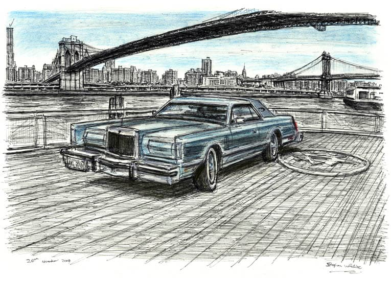 1977 Lincoln Continental at Brooklyn Heights (A4 print) with White mount (A4) in Flat grain black frame for A4 mounts (J90)