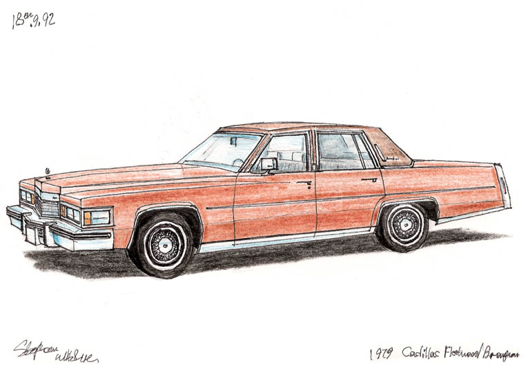 1979 Cadillac Fleetwood Brougham (A4 print) with White mount (A4) in Flat grain black frame for A4 mounts (J90)
