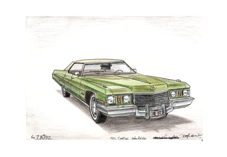1972 Cadillac Sen De Ville with White mount (A4) in Flat grain black frame for A4 mounts (J90)