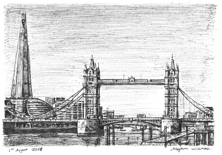 The Shard & Tower Bridge London - Original Drawings and Prints for Sale