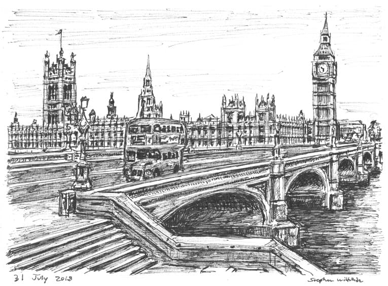 Houses of Parliament from Westminster Bridge London - original drawings and prints for sale