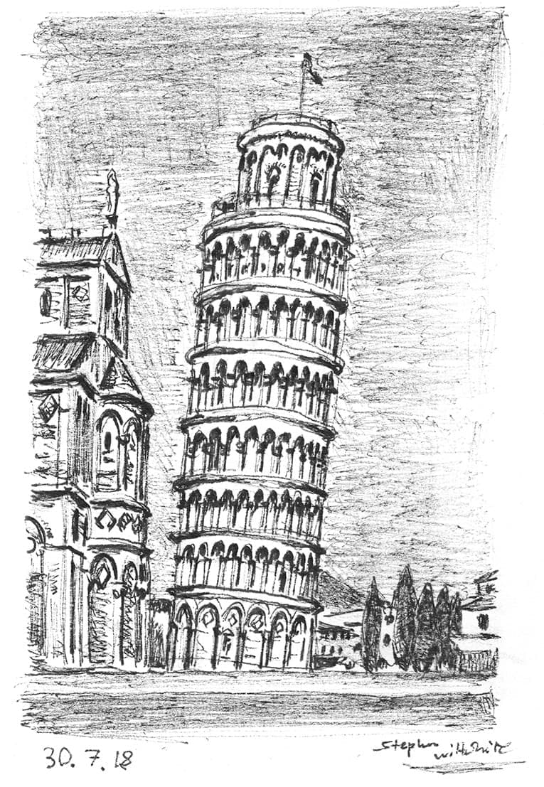 Leaning Tower of Pisa ( Italy) with White mount (A4) in Flat grain black frame for A4 mounts (J90)