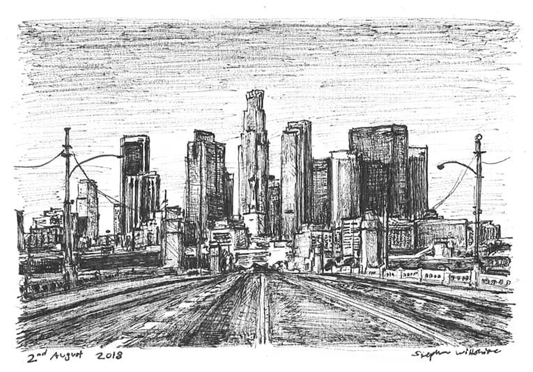 Downtown Los Angeles skyline, USA - originals and prints by Stephen Wiltshire MBE