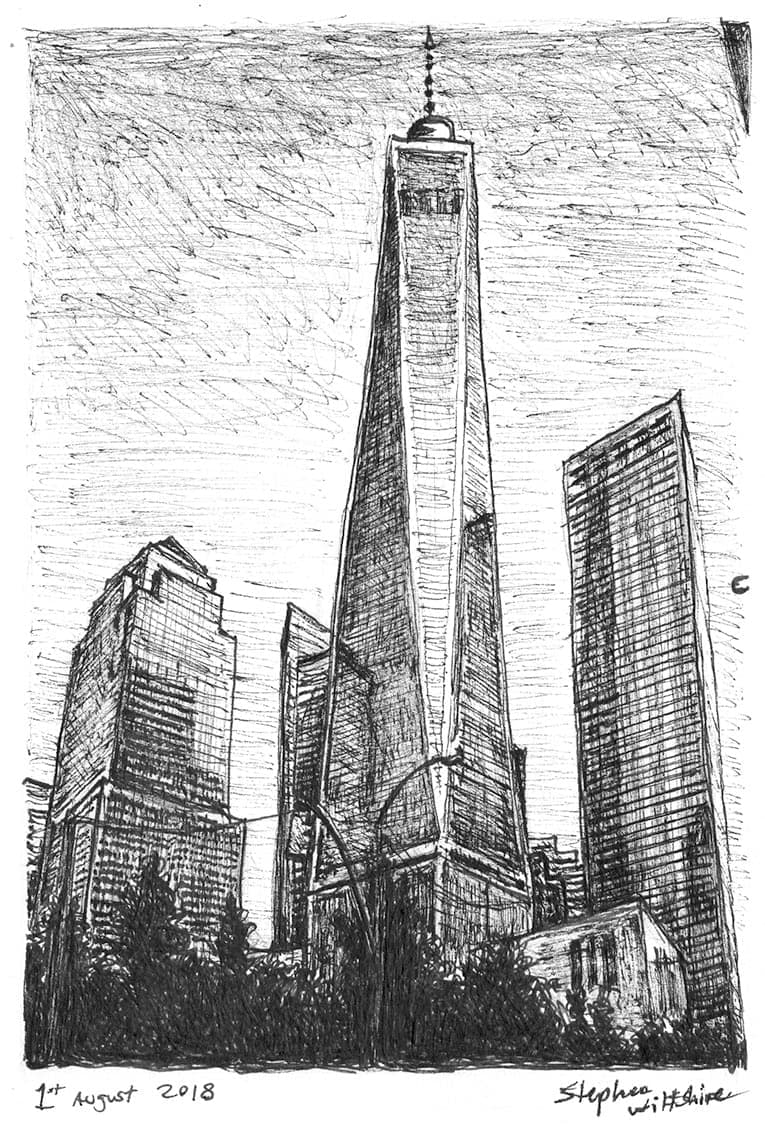 Freedom Tower, New York City - Original Drawings and Prints for Sale
