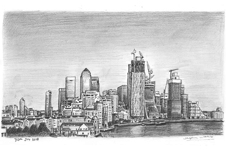 View of Canary Wharf skyline, London with White mount (A4) in Cushioned Black frame for A4 mounts (C59)