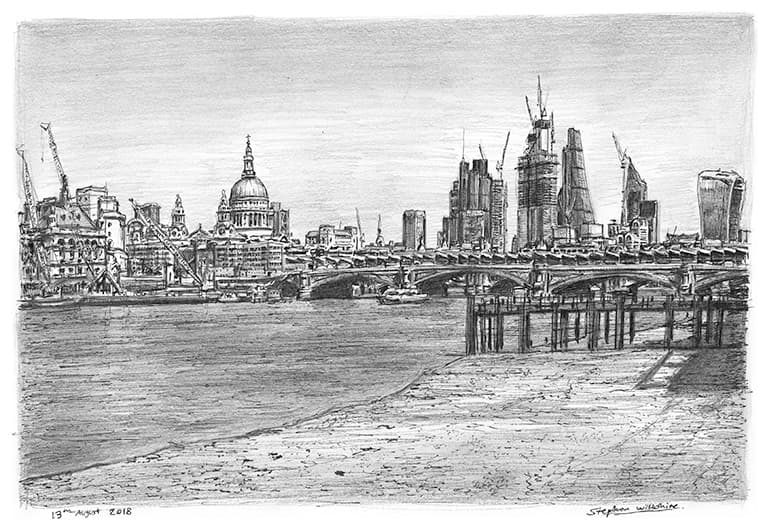 St Pauls Cathedral and the City of London skyline - originals and prints by Stephen Wiltshire MBE
