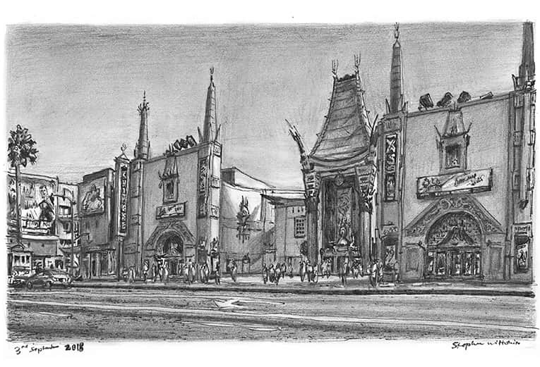 Chinese Theatre, Los Angeles, California with White mount (A4) in Cushioned Black frame for A4 mounts (C59)