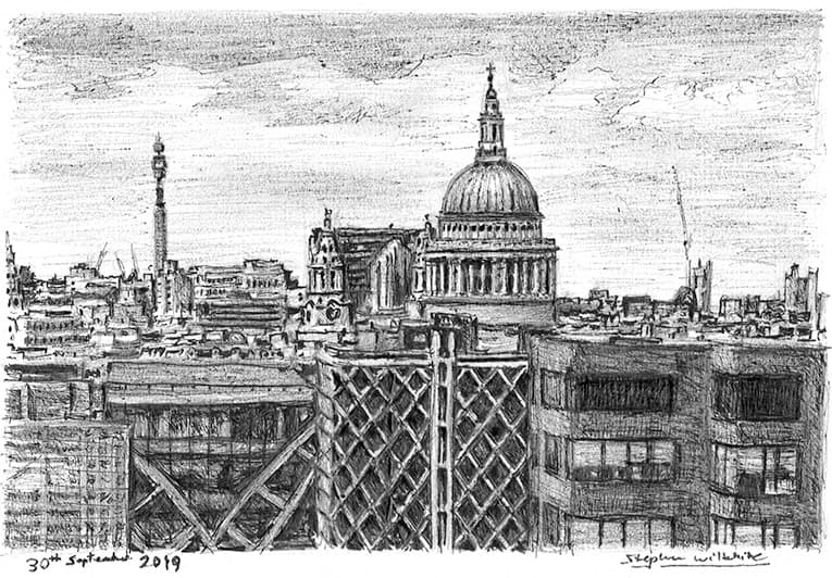 View of St Pauls Cathedral from the Monument - original drawings and prints by Stephen Wiltshire