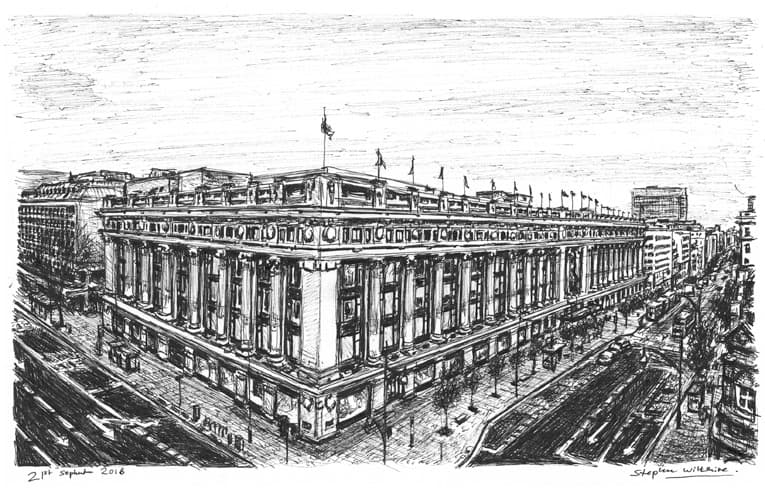 Selfridges, Oxford Street, London - originals and prints by Stephen Wiltshire MBE