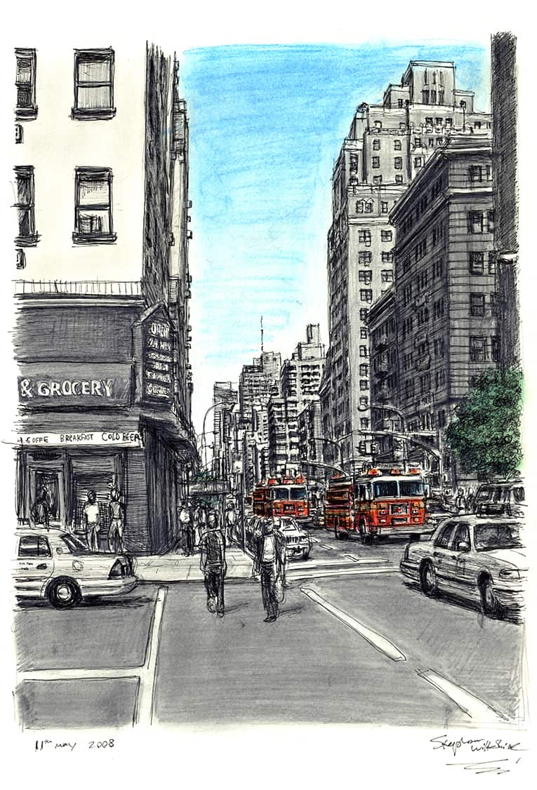 New York street scene with Fire Engines - originals and prints by Stephen Wiltshire MBE