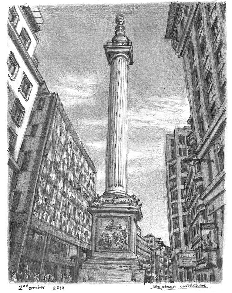 The Monument, London - original drawings and prints by Stephen Wiltshire