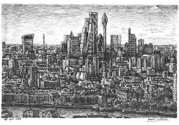 Tulip Tower, City of London - original drawings and prints by Stephen Wiltshire