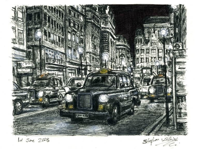 London Taxi Cab at Haymarket at night - Original Drawings and Prints for Sale