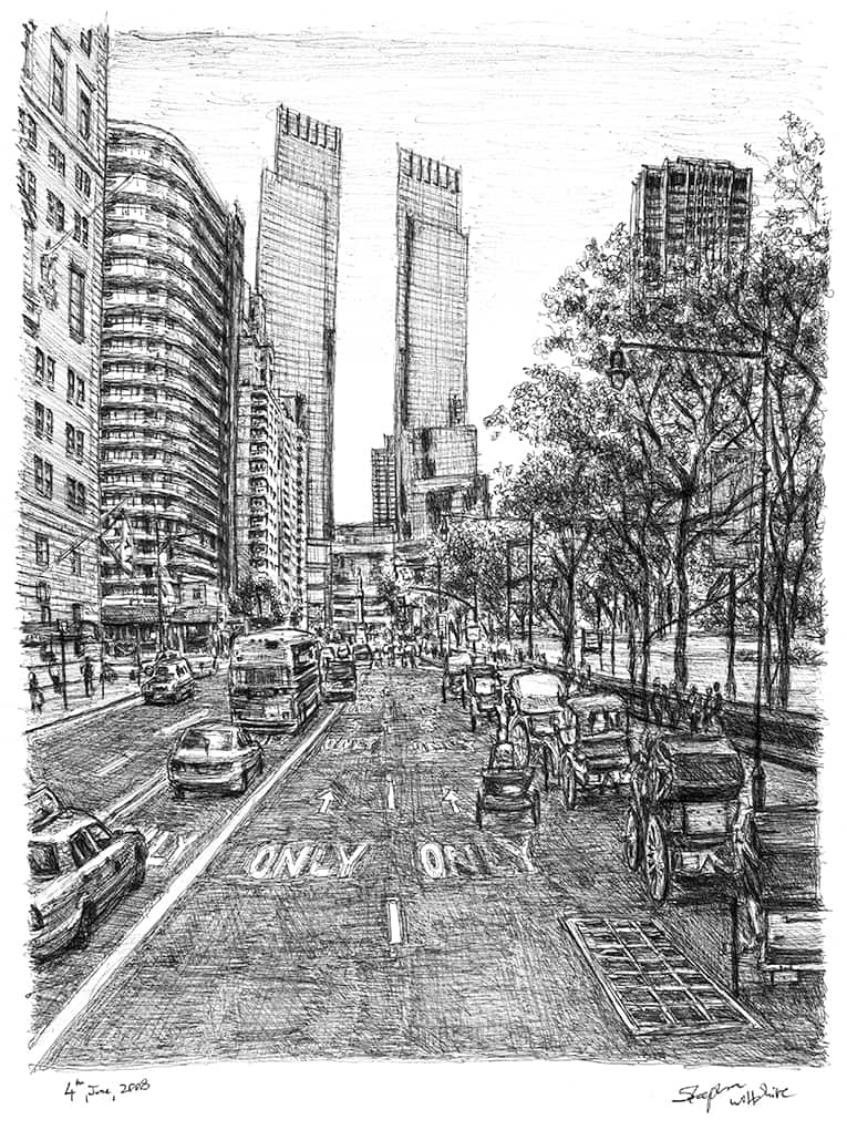 Street scene at Central Park with horse drawn carts - originals and prints by Stephen Wiltshire MBE