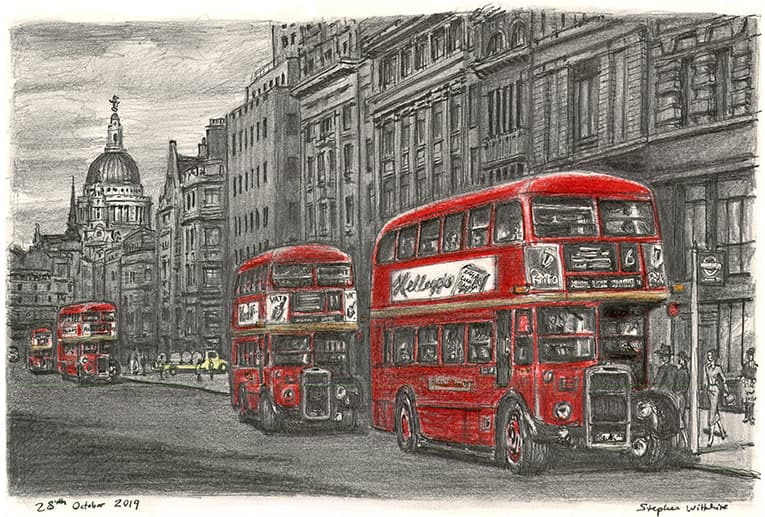 London RTW buses at Fleet street with White mount (A4) in Flat grain black frame for A4 mounts (J90)