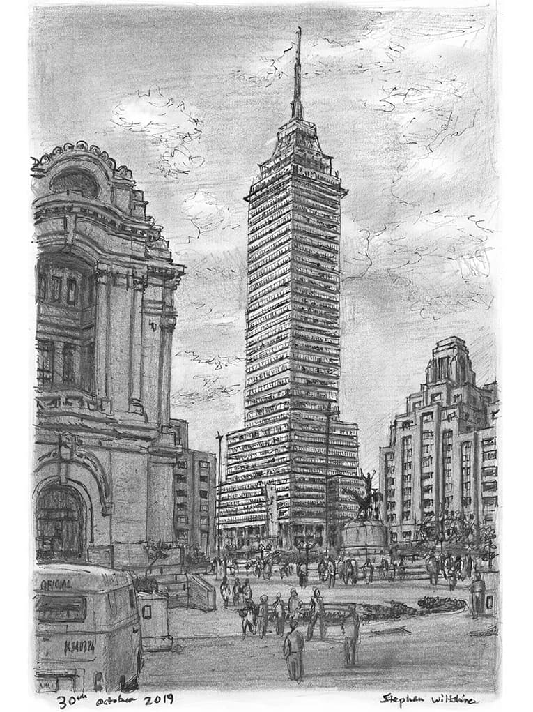 Torre Latinoamericana, Mexico City - original drawings and prints by Stephen Wiltshire