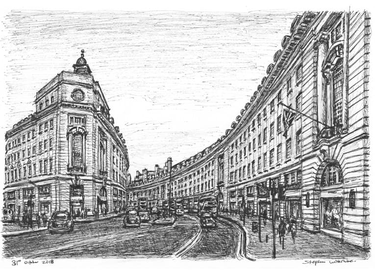 Regent Street, London - original drawings and prints for sale