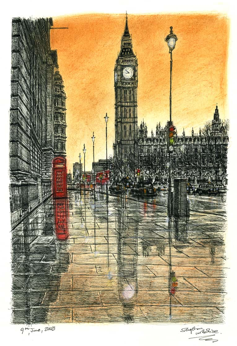 Big Ben on a rainy evening - Limited Edition of 100 - originals and prints by Stephen Wiltshire MBE