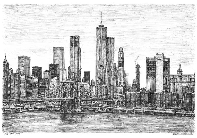 Brooklyn Bridge and One World Trade Center with White mount (A4) in Flat grain black frame for A4 mounts (J90)