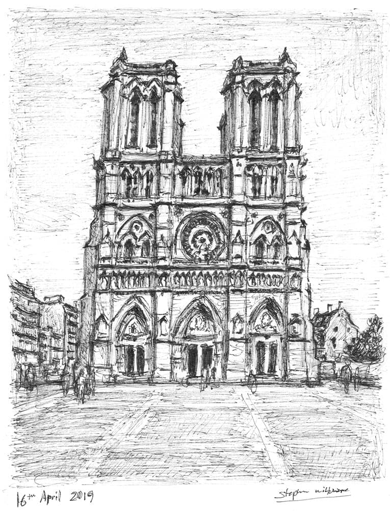 Notre Dame, Paris with White mount (A4) in Flat grain black frame for A4 mounts (J90)