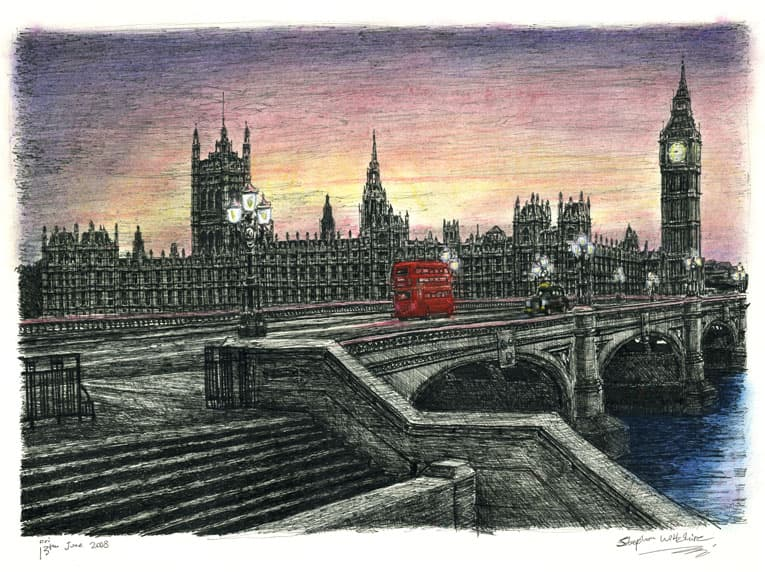 Houses of Parliament in the evening - originals and prints by Stephen Wiltshire MBE