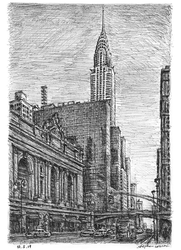Chrysler Building from 42nd street, New York - Original Drawings and Prints for Sale