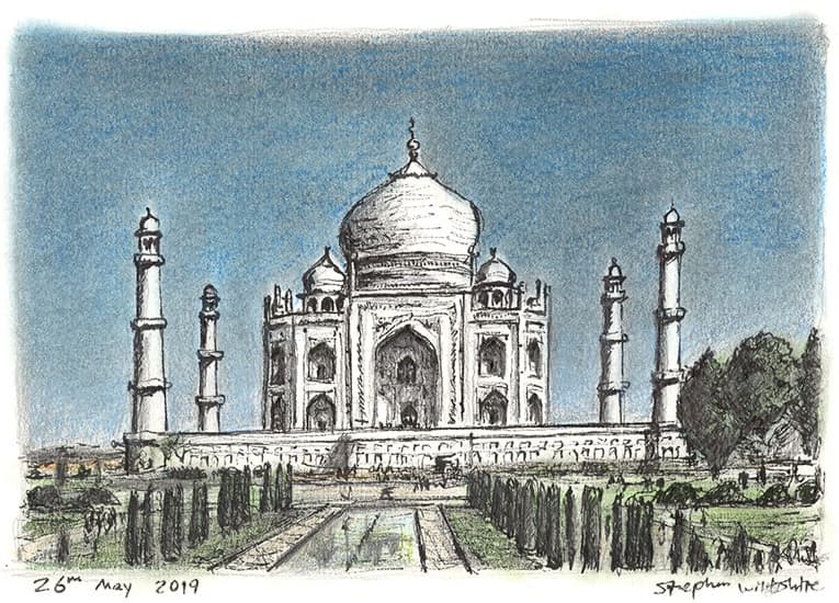 Taj Mahal with White mount (A4) in Flat grain black frame for A4 mounts (J90)