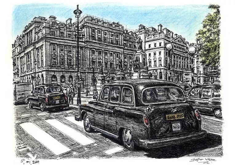 London Taxi (A4 print) with White mount (A4) in Flat grain black frame for A4 mounts (J90)