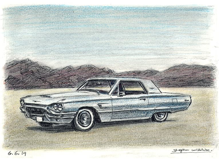 1965 Ford Thunderbird hard top - originals and prints by Stephen Wiltshire MBE